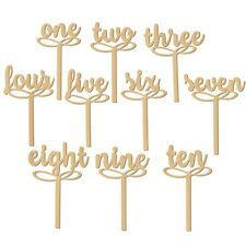 Set of 10 Freestanding Wooden Table Numbers Sticks Craft Wedding Party DIY Decor