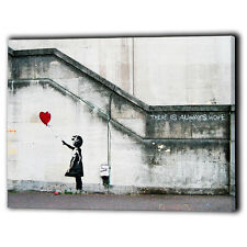 Large Banksy Art Canvas Prints Red Balloon Girl Hope Print Gift - Ready To Hang