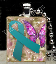 Teal Ribbon Scrabble Tile Pendant Jewelry Ovarian Cancer Awareness Support A