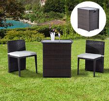 3pc Cushioned Outdoor Wicker Patio Set Garden Lawn Sofa Furniture Seat Brown