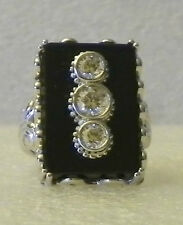 Xavier Absolute and Black Onyx Sterling Silver Triple Round Inset Scroll Ring  6