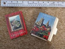 Lot of two mini Picture Postcard booklets - Gruyeres & Lausanne Switzerland