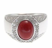 GENUINE NATURAL NOT ENHANCED OVAL RED CORAL DIAMOND RING SOLID 14K WHITE GOLD