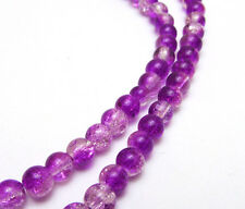 New 6MM 50pcs  Round Crackle Art Crystal Glass Spacer Charm Beads Purple-White