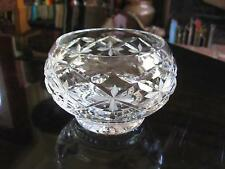 "TUDOR ENGLAND CUT CRYSTAL FOOTED BALL VASE Faceted Round Star Prism Glass 3""H"