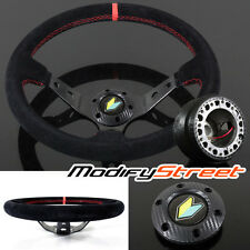 FOR 89-98 240SX 350mm SUEDE/RED STITCH DEEP DISH STEERING WHEEL/HUB BOSS KIT