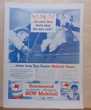 1946 magazine ad for Mobil Oil - Dog shocked by cursing man, Avoid summer wear
