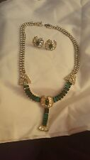 Vintage Signed Phyllis Sterling Green & Clear Rhinestone Necklace & Earring Set