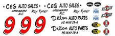 #9 Toy Tyner 1957 Chevy Dillon Auto Parts 1/32nd Scale Slot Car WATERSLIDE DECAL