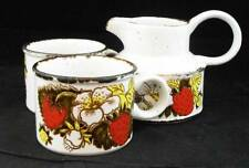 Midwinter STRAWBERRY Creamer + 2 Cups (no saucers) LIGHT USE