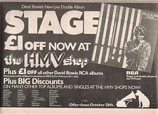 DAVID BOWIE Stage (HMV) 1978 UK  Press ADVERT 12x8 inches