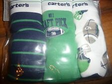 New Carter's 3 Pairs Underwear Boy Briefs size 6-7 football theme NWT