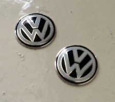 2 x VW KEY FOB/REMOTE BADGE STICKER BLACK EMBLEM GOLF POLO PASSAT GTI TDI R32