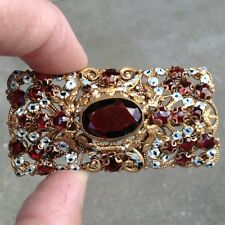 Czech FILIGREE GARNETS & ENAMEL FLOWERS BROOCH Forget-Me-Nots brass pin antique