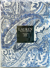 Ralph Lauren Cotton Tablecloth Laveen Paisley Indigo Blue Soft White 60 x 104