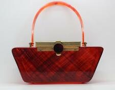 *GREAT LOOK* 1960's UNUSUAL VINTAGE RETRO AMBER LUCITE PURSE, COOL CLASP