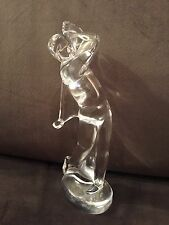 Large Beautiful Baccarat France Man Golfing Glass Crystal Figurine Signed Twice