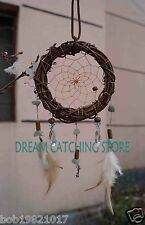 new arrival  TWILIGHT  natural cane dream catcher with wolf and feathers