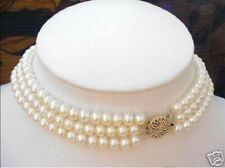 Natural 3 ROWS 7-8MM White Akoya Cultured Pearl Choker Necklace