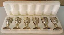 "(BB) Set of 6 Raimond Japan Silverplate Glass Cordial Shot Mini 4"" Stem Glasses"