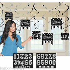 12 Classic Black & White Birthday Party Add An Age Hanging Swirls Decorations
