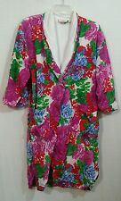 Victoria's Secret bright floral chiffon robe w terry lining & bed jacket