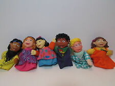 """COMPLETE SET OF SIX  FINGER PUPPETS  - 3"""" Russ Toy """"The Puzzle Place""""  - NEW"""