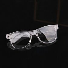 80s Nerdy Clear Transparent Thick Plastic Frame Horn Rim Wayfarer Eye Glasses