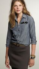 J. Crew Women's Embellished Boy Shirt Chambray Long Sleeve Sequin NWT size 12