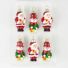 Six Vintage Nostalgic Glass Mini Santa & Snowman Hanging Decorations * Xmas Gift