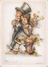 Fantasy Elegant Couple, fancy, flowers, Hilla Peyk  1943