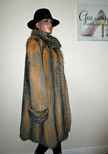 Genuine Vintage American Grey Fox Real Fur Coat Jacket Silver Black Red 12 - 14