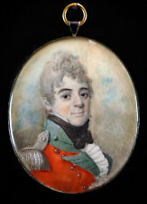 Fine Georgian Portrait Miniature of a Young Military Officer in Red Uniform