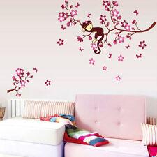 Wandtattoo Kinderzimmer Affe auf Baum Ast XXL Wald Tiere Schmetterlinge Blume