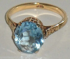 STUNNING FINE 4.00ct SOLITAIRE BLUE TOPAZ 9ct YELLOW GOLD VINTAGE RING
