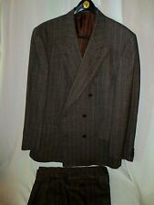 Ermenegildo Zegna Soft Brown stripe Double Breasted Suit Wool blend Switzerland