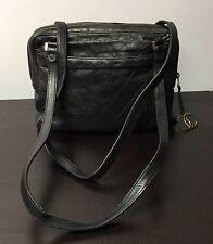 Vintage CHANEL 1980's Black Quilted Leather Shoulder Bag No. 0551952 Italy