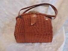 GRAND SAC EN CROCO VÉRITABLE, MARRON CARAMEL  VINTAGE 1940 / ART DECO BAG