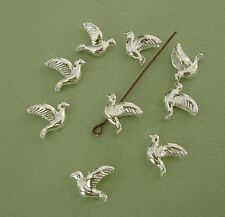 20 Pcs- Dove Bird Bead Charm Pendant Silver Plated Brass for Jewelry Making.