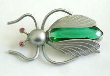 Un bug Spilla Art Deco con corpo in vetro verde & rosso occhi di diamante