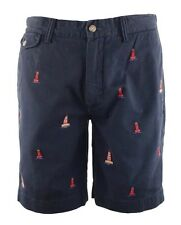 NEW Polo Ralph Lauren Mens Embroidered Classic Fit Shorts 38 Navy Blue $98