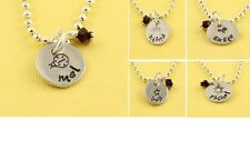 Personalized Little Girl Custom Birthstone Necklace - Ladybug Flower Star Bird
