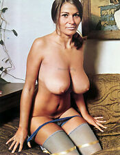 60s Uschi Digard nude kneeling on couch towering breasts 8 x 10 Photograph