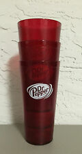 New (3) Dr. Pepper Restaurant Red Plastic Tumblers Cups 24oz Carlisle