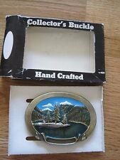 1981 Metal With Color Belt Buckle--Mountain Lake, Chad Mfg.  Aurora, CO