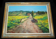 "1990s ITALIAN OIL on CANVAS PAINTING ""CAMPAGNA TOSCANA"" by AGOSTINO VERONI"