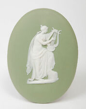 A Wedgwood Green Jasper Ware Oval Plaque Emblematic of Music - Antique c1900