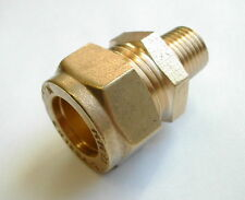 15mm Compression x 1/4 Inch BSP Male Iron Adaptor / Coupler | Brass Fitting