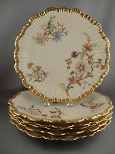 Rare Antique Royal Worcester Set of 6 Hand Painted Porcelain Dessert Plates 1888