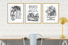 3x A4 Alice in Wonderland quote prints. Mad Hatter, Cheshire Cat All mad here